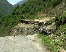 Road washed away in Lohit District